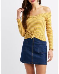 016818cee81704 Charlotte Russe. Women's Yellow Striped Off-the-shoulder Knotted Crop Top