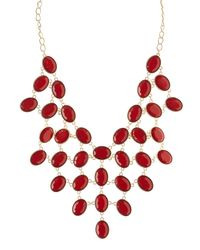 Charlotte Russe - Red Faceted Stone Statement Necklace - Lyst