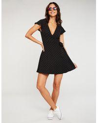 Charlotte Russe - Black Polka Dot Wrap Dress - Lyst