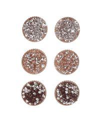 Charlotte Russe - Metallic Caviar Cluster Stud Earrings - 3 Pack - Lyst