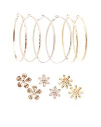 Charlotte Russe - Metallic Floral & Hoop Earrings - 6 Pack - Lyst