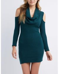 1df33e3104 Lyst - Charlotte Russe Cowl Neck Cold Shoulder Knit Dress in Green