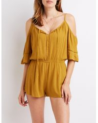 2c5a35ef37e8 Lyst - Charlotte Russe Cold Shoulder Tie-front Romper in Yellow