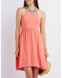 70008bc339ff Lyst - Charlotte Russe Bib Neck Babydoll Dress in Pink