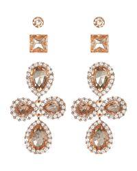 Charlotte Russe - Metallic Embellished Statement Earrings - 3 Pack - Lyst
