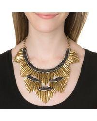 Deepa Gurnani | Black Feather Bib Necklace, Silver | Lyst