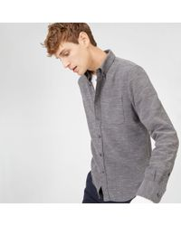 Club Monaco - Gray Slim Melange Shirt for Men - Lyst