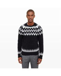 Club Monaco | Black Fair Isle Jacquard Crew for Men | Lyst