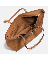 COACH - Black Turnlock Tote In Crossgrain Leather - Lyst