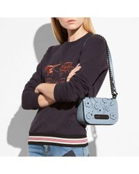 COACH - Blue Swagger Shoulder Bag 20 In Glovetanned Leather With Tea Rose Tooling - Lyst
