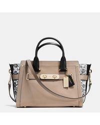 COACH | Brown Swagger In Colorblock Exotic Embossed Leather | Lyst