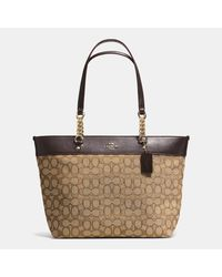 COACH | Brown Sophia Tote In Signature Canvas | Lyst