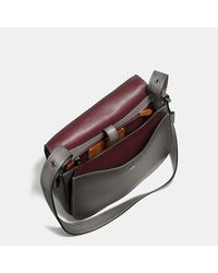 COACH - Gray Saddle Bag In Burnished Glovetanned Leather - Lyst
