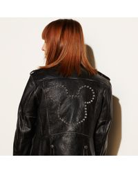 COACH - Black Mickey Moto Jacket - Lyst
