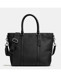 COACH | Black Metropolitan Tote In Pebble Leather for Men | Lyst
