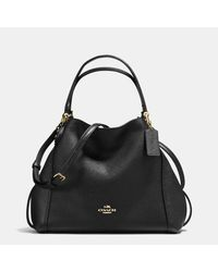 COACH | Black Edie Shoulder Bag 28 In Polished Pebble Leather | Lyst