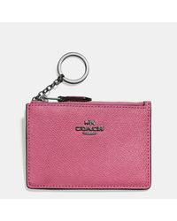 COACH | Pink Mini Skinny Id Case In Crossgrain Leather | Lyst
