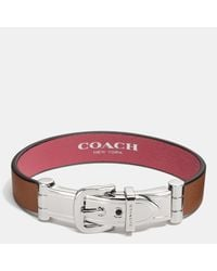 COACH | Red Wide Two Tone Glovetanned Leather Buckle Bracelet | Lyst