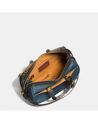 COACH - Blue Rogue Satchel In Glovetanned Pebble Leather With Patchwork Snake Handle - Lyst
