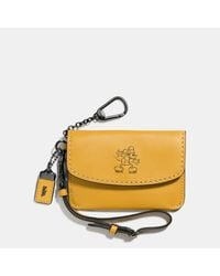 COACH - Yellow Mickey Envelope Key Pouch In Glovetanned Leather - Lyst