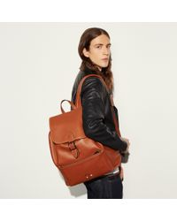 COACH - Brown Mickey Rainger Backpack In Glovetanned Leather - Lyst