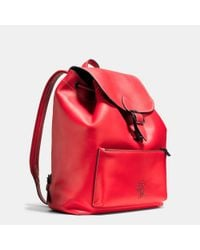 COACH - Red Mickey Rainger Backpack In Glovetanned Leather - Lyst