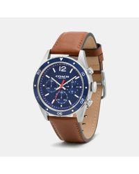 COACH   Blue Sullivan Sport Stainless Steel Chrono Leather Strap Watch   Lyst