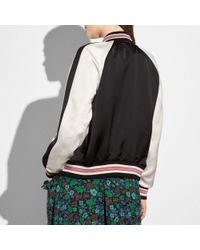 COACH - Black Reversible Satin Varsity Jacket - Lyst