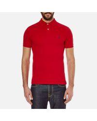 Polo Ralph Lauren | Red Men's Slim Fit Short Sleeved Polo Shirt for Men | Lyst