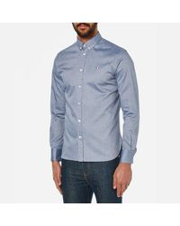 Maison Kitsuné - Blue Maison Kitsunã© Men's Classic Shirt With Tricolor Patch for Men - Lyst