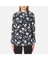 Ganni | Blue Women's Maxwell Crepe Shirt | Lyst