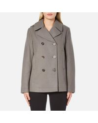 Helmut Lang | Gray Women's Cropped Peacoat | Lyst