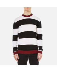 McQ Alexander McQueen - Multicolor Men's Stripe Contrast Crew Neck Jumper for Men - Lyst
