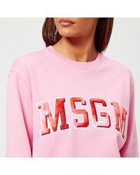 MSGM - Pink Women's Logo Sweatshirt - Lyst