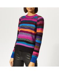 526b9683e4d Marc Jacobs Tie-back Striped Cashmere Sweater in Pink - Lyst