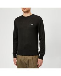 a28ff4c0d044a Vivienne Westwood Men s Classic Round Neck Knitted Jumper in Blue ...
