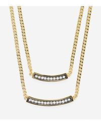 Cole Haan - Metallic Double Pave Swarovski Bar Necklace - Lyst