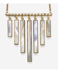 Cole Haan - Metallic Tali Mother Of Pearl Frontal Fringe Necklace - Lyst