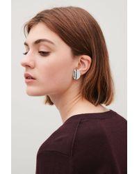 COS - Metallic Curved Stud Earrings - Lyst