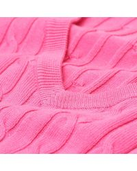 Gant - Pink Stretch Cotton Cable V-neck Ladies Jumper - Lyst