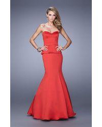 La Femme - Red 21380 Strapless Peplum Mermaid Gown - Lyst