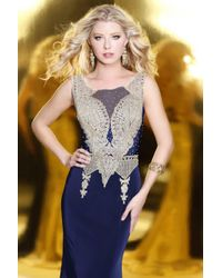 Shail K - Blue Elegant Laced And Jeweled Scoop Neck Polyester Trumpet Gown 4089 - Lyst