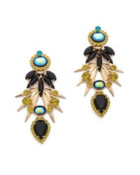 Elizabeth Cole | Metallic Crystal Statement Earrings - Turquoise/Howlite/Gold | Lyst