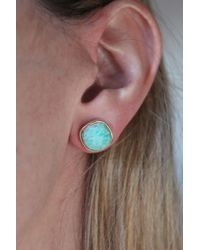 Rachael Ryen - Multicolor Amazonite Cushion Cut Gold Framed Stud Earrings - Lyst