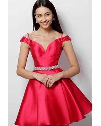 Jovani - Red Jvn62788 Embellished Off-shoulder A-line Cocktail Dress - Lyst
