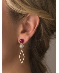 Rachael Ryen | Multicolor Pronged Pave Drops - Rubellite Jade (as Seen In O Magazine) | Lyst