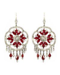 Ben-Amun - Red Ruby Deco Crystal Earrings - Lyst