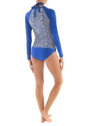 Helen Jon - Blue Scoop Neck Surf Shirt-riviera - Lyst