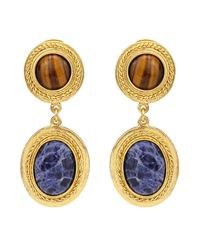Ben-Amun | Blue Gypset Tiger Eye Drop Earrings | Lyst