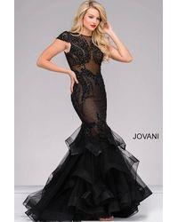 Jovani - Cap Sleeve Tiered Mermaid Dress - Lyst